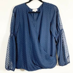 LOFT Blue Polka Dot Cross Front V-Neck Blouson Top